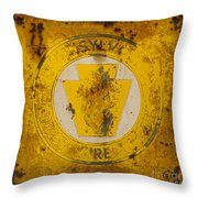 Antique Metal Pennsylvania Forest Fire Warden Sign Throw Pillow by John Stephens