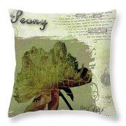 Antique Peony Throw Pillow