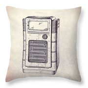 Antique Phonograph Cabinet Patent Throw Pillow