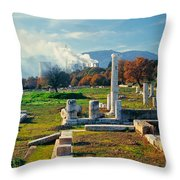 Antique Pillars And Power Plant Megalopoli Greece Throw Pillow