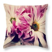 Antique Pink And White Daisies Throw Pillow