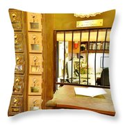 Antique Post Office Letter Boxes At The Boardwalk Plaza In Rehoboth Beach Delaware Throw Pillow