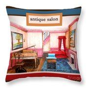 Antique Salon - Colonial Red And Blue Throw Pillow