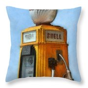 Antique Shell Gas Pump Throw Pillow