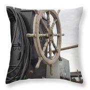 Antique Ship Steering Wheel Throw Pillow