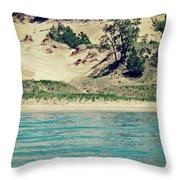 Antique Snapshot Series - Dunes On Lake Michigan Throw Pillow