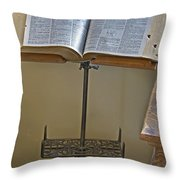 Antique Still Life Reading Stand Throw Pillow