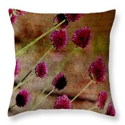 Antique Style Pink Floral Throw Pillow