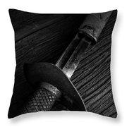 Antique Sword Black And White Throw Pillow