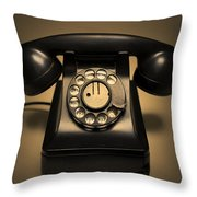 Antique Telephone Throw Pillow by Diane Diederich