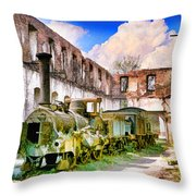 Antique Train Throw Pillow by Chuck Staley
