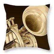 Antique Trumpet Throw Pillow