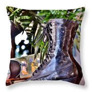 Antique Victorian Boots At The Boardwalk Plaza Hotel - Rehoboth Beach Delaware Throw Pillow
