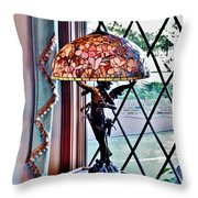 Antique Victorian Lamp At The Boardwalk Plaza - Rehoboth Beach Delaware Throw Pillow