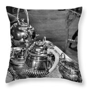 Antique Victorian Tea Service In The Boardwalk Plaza Lobby - Rehoboth Beach Delaware Throw Pillow