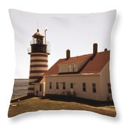 Antique West Quoddy Lighthouse Throw Pillow