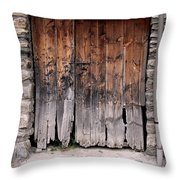 Antique Wood Door Damaged Throw Pillow