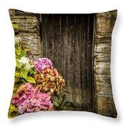 Antique Wooden Door And Hortensia Throw Pillow
