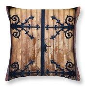Antique Wooden Door Throw Pillow