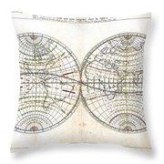 Antique World Map Harmonie Ou Correspondance Du Globe 1659 Throw Pillow