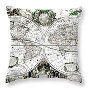 Antique World Map Poster Throw Pillow