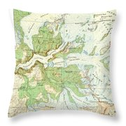 Antique Yosemite National Park Map Throw Pillow