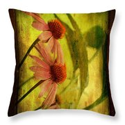 Antiqued Cone Flowers Throw Pillow