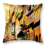 Antiqued Photograph Of Townhouses Throw Pillow