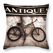 Antiques And The Old Bike Throw Pillow by Bob Orsillo