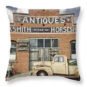 Antiques Blacksmith And Horseshoer Throw Pillow