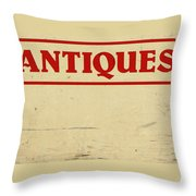 Antiques Sign Throw Pillow