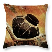 Antler And Olla Throw Pillow by Karen Slagle