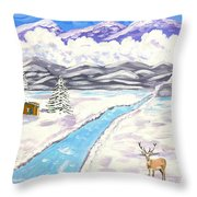 Antlers And Snow Throw Pillow