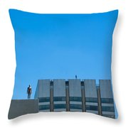 Antony Gormley Sculpture On London Rooftops  Throw Pillow
