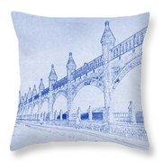 Antwerp Railway Bridge Blueprint Throw Pillow