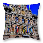 Antwerp's City Hall Throw Pillow