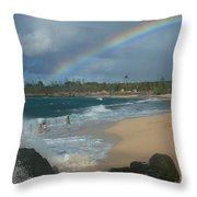 Anuenue - Aloha Mai E Hookipa Beach Maui Hawaii Throw Pillow