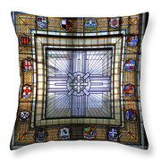 Anzac Day 2014 Auckland War Memorial Museum Stained Glass Roof Throw Pillow
