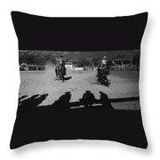 Apache Roping Cow Labor Day Rodeo White River Arizona 1969 Throw Pillow