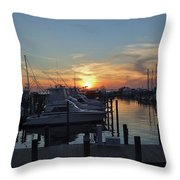 Apalachicola Marina At Sunset Throw Pillow