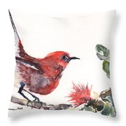 Apapane - Native Hawaiian Bird Throw Pillow