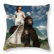 Ape And Girl Throw Pillow