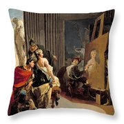 Apelles Painting The Portrait Of Campaspe Throw Pillow