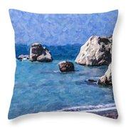Aphrodites Rock Cyprus Throw Pillow