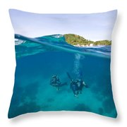 Apo Island Marine Park Negros Oriental Throw Pillow