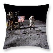 Apollo 16 Lunar Landing Astronaut Young Throw Pillow