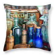 Apothecary - Remedies For The Fits Throw Pillow by Mike Savad