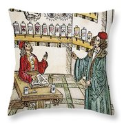 Apothecary Shop, 1500 Throw Pillow