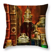 Apothecary - Vintage Jars And Potions Throw Pillow