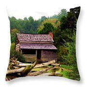 Appalachian Cabin With Fence Throw Pillow
